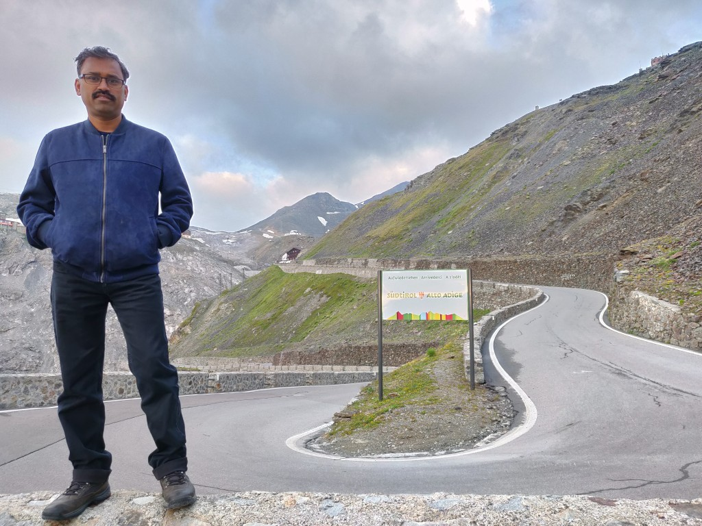 Road bend on the Stelvio Pass Near Adige